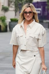 Ashley Roberts in a Bleached Denim Skirt and Matching Jacket - London 07/07/2021