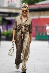 Ashley Roberts in an Olive Two Piece Trousers and Knotted Crop Top - London 07/15/2021