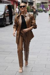 Ashley Roberts in Brown Vinyl Snakeprint Jacket and Matching Trousers - London 07/27/2021