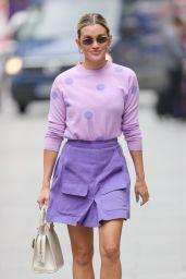 Ashley Roberts in Purple Mini Skirt and Polka Dot Top - London 07/13/2021