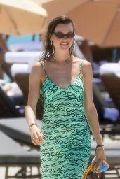 Behati Prinsloo in a Green Dress - Miami Beach 07/03/2021
