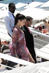 Bella Hadid in a Colorful Print Out in Cannes 07/11/2021