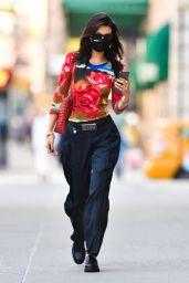 Bella Hadid Wears a Red Rose Shirt - New York 07/26/2021