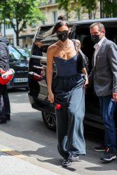 Bella Hadid Wears Corset and Baggy Sweatpants - Paris 07/07/2021