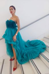 Blanca Blanco in a Green Gown - Photoshoot in Cannes 07/18/2021