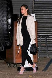 Cara Santana in a Black Pants and a Beige Coat at Nobu in Malibu 07/03/2021