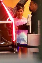 Cardi B in a Tie-dye T-shirt - BOA Steakhouse in LA 07/06/2021