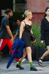 Chloe Fineman in an Open-Back LBD and Prada Loafers - New York 07/18/2021