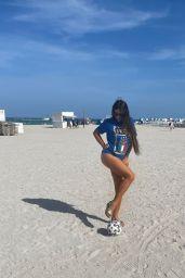 Claudia Romani in a bikini With an Italian Soccer T-shirt 07/10/2021