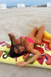 Claudia Romani on a Giant Veggie Pizza Floatie - Miami 07/14/2021