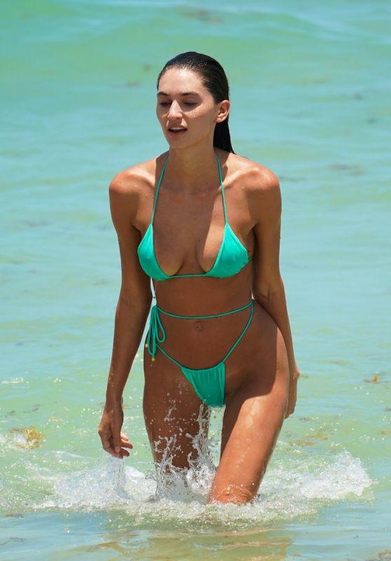 Debbie St. Pierre in a Green Bikini - Beach in Miami 07/11/2021