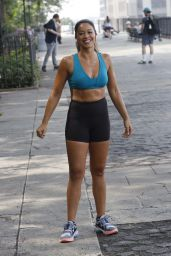 """Gina Rodriguez and Tom Ellis - """"Players"""" Filming Set in NY 07/27/2021"""