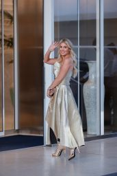 Hofit Golan in a Gold Gown at the Martinez Hotel in Cannes 07/10/2021