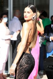 Izabel Goulart Wearing Black Lace Outfit - Cannes 07/08/2021