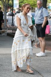 Jennifer Lopez in a Plunging Summer Dress - Shopping in The Hampton, New York 07/05/2021