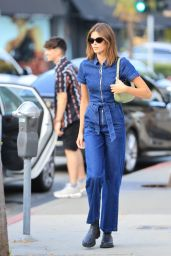 Kaia Gerber in a Denim Jumpsuit - West Hollywood 07/08/2021