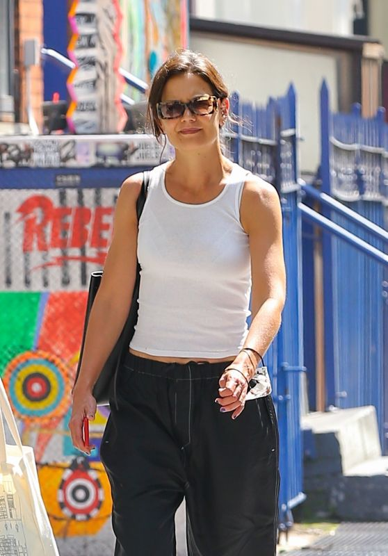 Katie Holmes in a Casual Black and White Outfit - New York 07/27/2021
