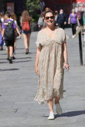 Kelly Brook in a Chiffon Snakeskin Dress in London 07/17/2021