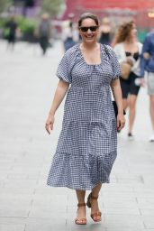 Kelly Brook in a Gingham Cotton Dress in London 07/24/2021