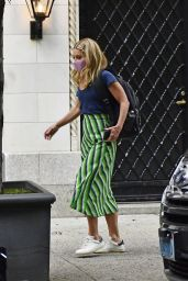 Kelly Ripa in a Stripe Green Skirt, Blue Top and Pink Mask - New York 07/19/2021