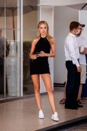 Kimberley Garner in a Black Backless Minidress  - Hotel Martinez in Cannes 07/15/2021