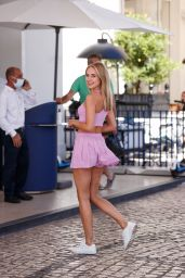 Kimberley Garner in a Pink Mini Skirt and Pink Crop Top at the Martinez Hotel in Cannes 07/14/2021