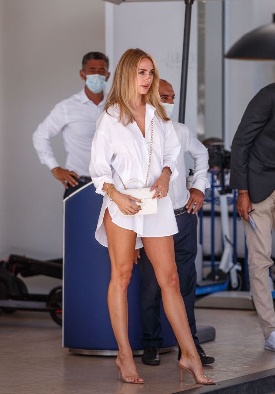 Kimberley Garner in White T-Shirt Dress and Channel Bag - Cannes 07/14/2021