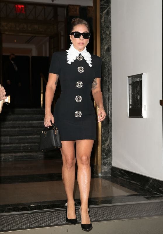 Lady Gaga in a Black Mini Dress - New York 07/30/2021