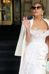 Lady Gaga in a White Lace and Ruffle Dress With a Mint Purse - NYC 07/01/2021