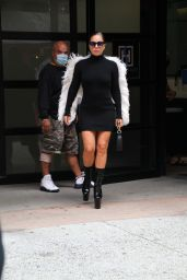 Lady Gaga in Black Dress With White Feather Fringe - New York 07/27/2021