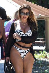Larsa Pippen in a Zebra Print Bikini - Beach in Miami 07/20/2021