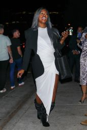 """Laverne Cox - Leaving the """"Jolt"""" Movie Premiere Dinner Party at San Vicente Bungalows in West Hollywood 07/19/2021"""