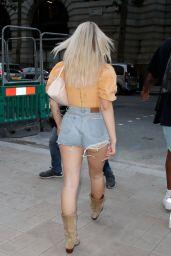 Lottie Moss in a Denim Short Shorts at 180 Strand in London 07/17/2021