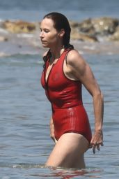 Minnie Driver in a Red Swimsuit - Malibu 07/07/2021
