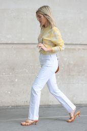 Mollie King in White Denim and Happy Sweater - London 07/03/2021