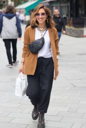 Myleene Klass in a Suede Jacket and Loose Trousers - London 07/10/2021