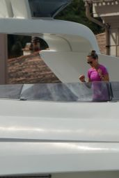 Natascha Poly on Her Yacht in the Saint Tropez Harbor 07/19/2021