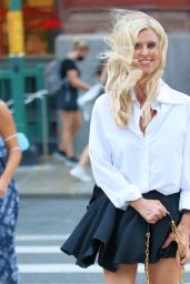 Nicky Hilton in a Mini Pleated Skirt in Soho in New York 07/27/2021