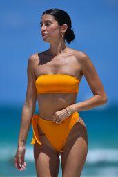 Nicole Williams in a Strapless Orange Bikini - Beach in Miami 07/12/2021