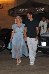Paris Hilton in a Baby Blue Dress at Nobu in Malibu 07/17/2021