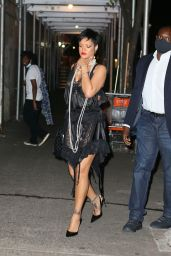 Rihanna in a Black Lace Dress and Heels at Carbone Italian Restaurant in NY 07/05/2021