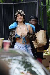 Rihanna in a Multicolored Knit Bikini Top and Black Heels - Bronx 07/10/2021