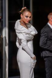 Rose Bertram in a White Dress at the Martinez Hotel in Cannes 07/13/2021
