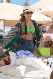 Sylvie Meis in a Green Bikini at Cotton Beach Club in Ibiza 07/13/2021
