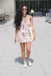Vick Hope  in a Patterned Dress - London 07/19/2021
