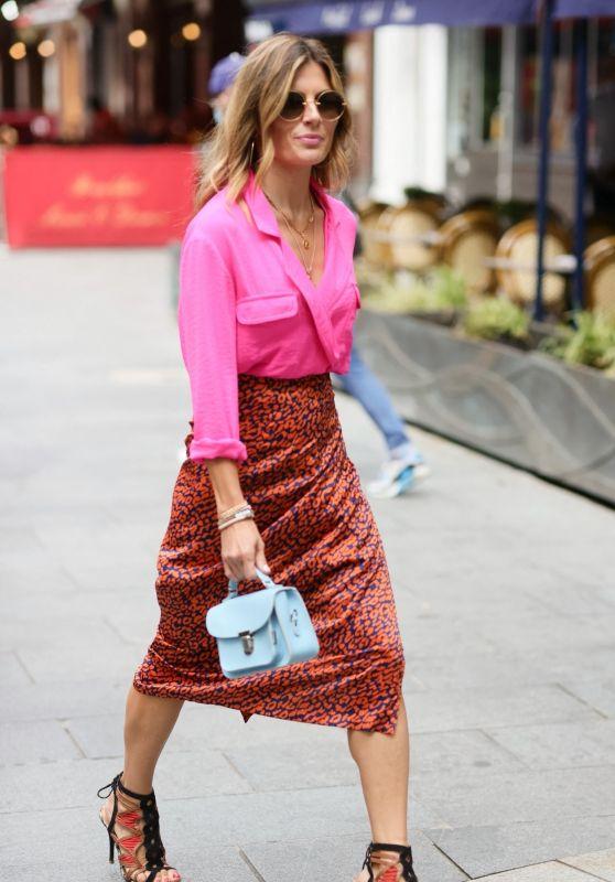 Zoe Hardman Wears Hot Heals and Pink Shirt - London 07/27/2021