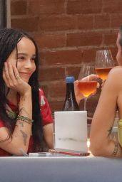 Zoe Kravitz in Colorful Top With Sara Elise Hardman in Brooklyn 07/08/2021