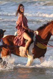Alessandra Ambrosio - Horseback Riding on the Beach in Trancoso 08/05/2021