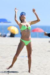 Alessandra Ambrosio in a Green Bikini at the Beach in LA 08/29/2021
