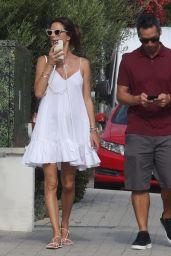 Alessandra Ambrosio in a White Summer Dress - Malibu 08/30/2021